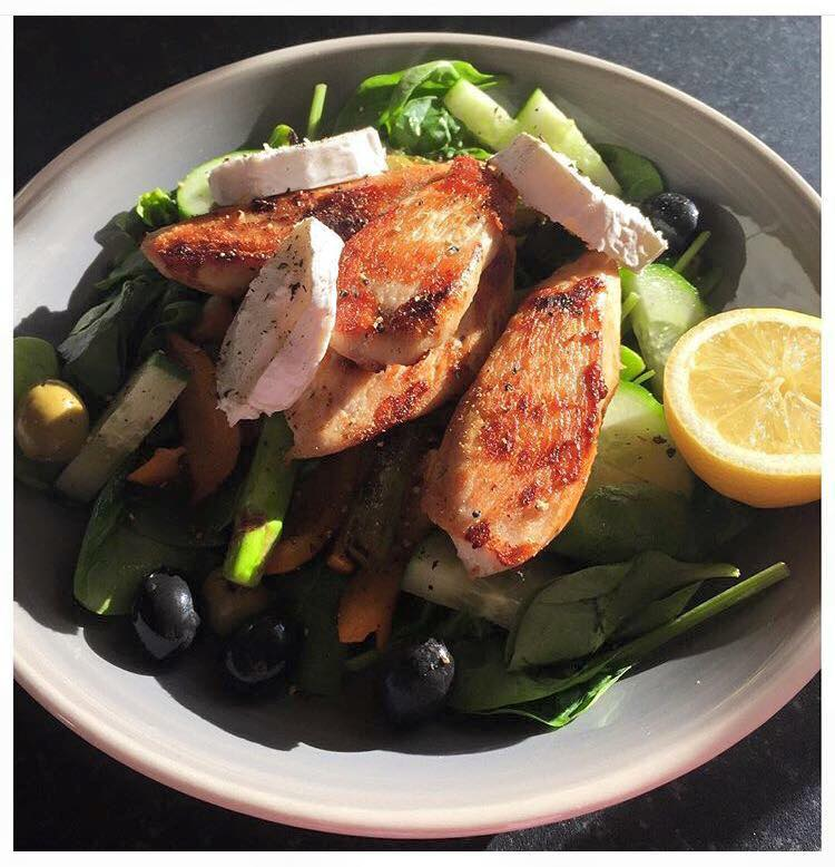 Pan fried Chicken & Goats Cheese Salad